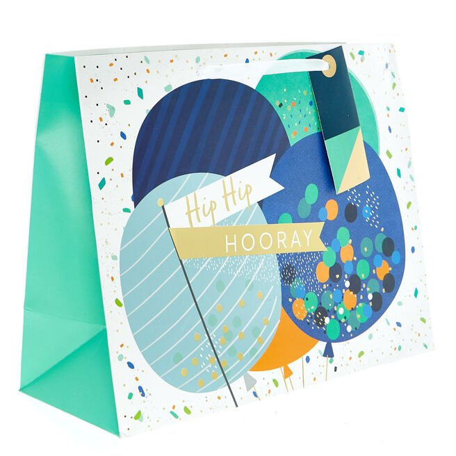 Medium Landscape Gift Bag - Hip Hip Hooray Balloons