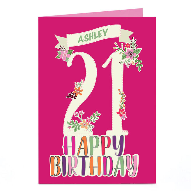 Personalised 21st Birthday Card - Floral & Pink