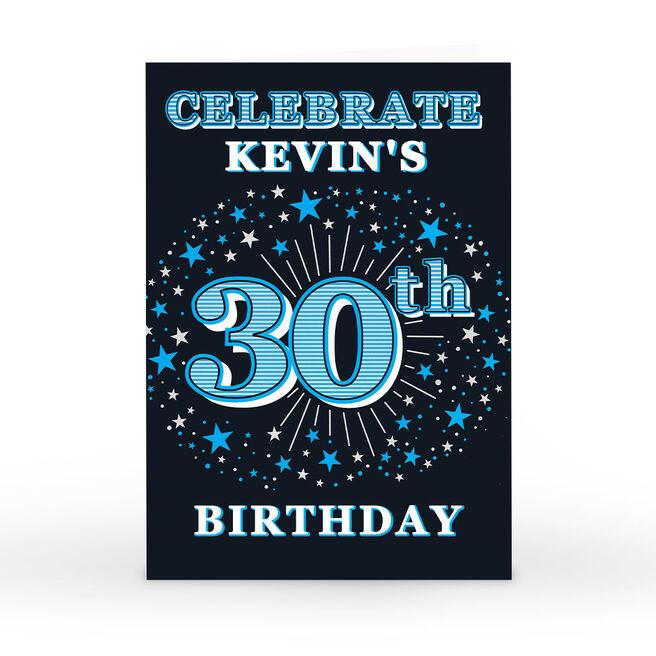 Personalised 30th Birthday Invitation - Blue Stars