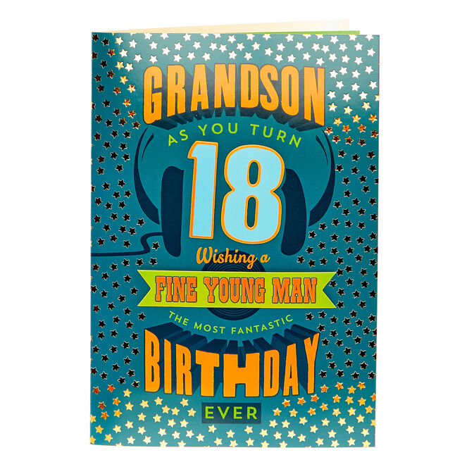 18th Birthday Card - Grandson, Fine Young Man