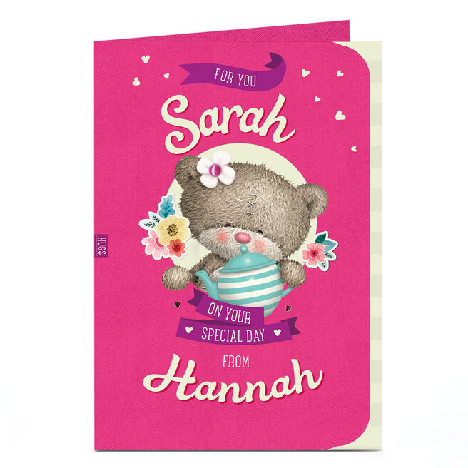 Personalised Hugs Bear Card - Teapot