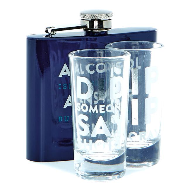 Men's Hip Flask & Shot Glasses Gift Set