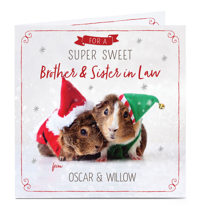 Personalised Christmas Card - Brother & Sister In Law Guinea Pig