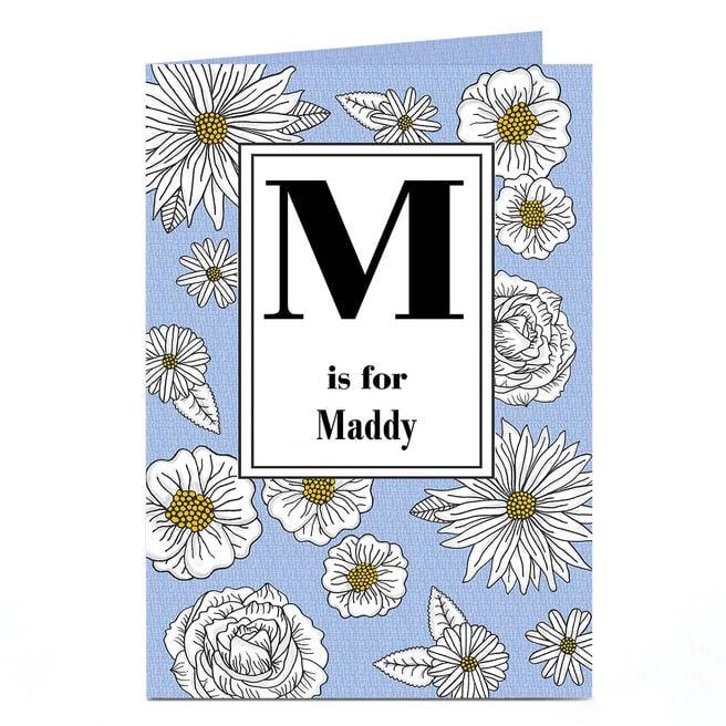 Personalised Card - Initial & Flowers