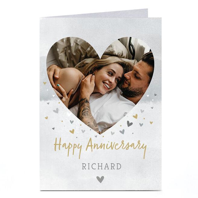 Photo Anniversary Card - Gold & Silver Hearts