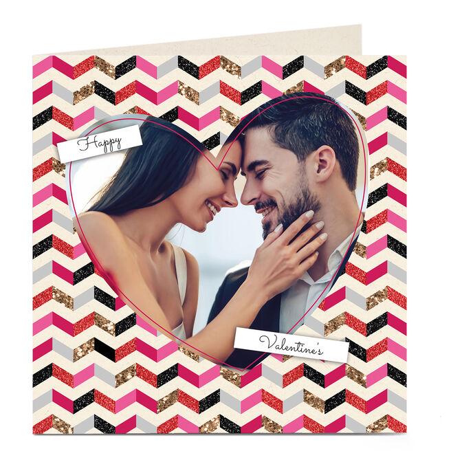 Photo Upload Valentine's Card - Zigzag Pattern & Heart