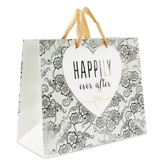 Medium Silver & Ivory Gift Bag - Happily Ever After