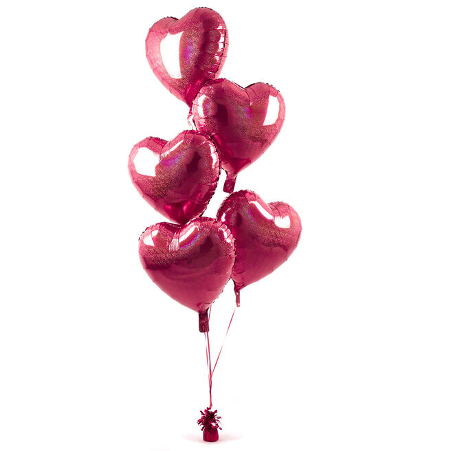 5 Red Hearts Balloon Bouquet - DELIVERED INFLATED!