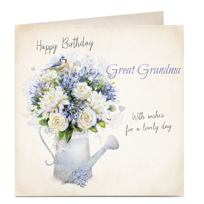 Personalised Birthday Card - Watering Can Flowers, Great Grandma
