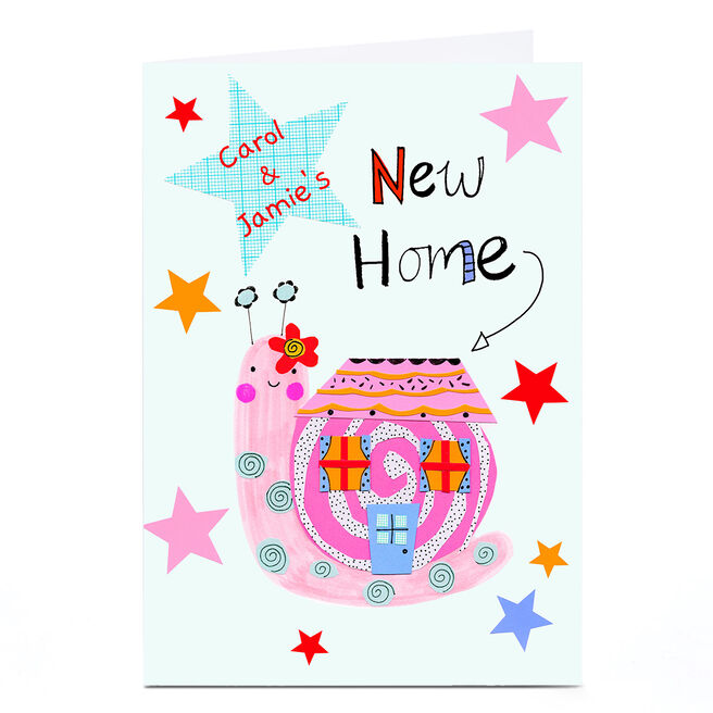 Personalised Lindsay Loves To Draw New Home Card - Cute Snail