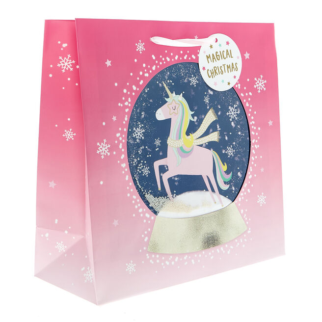 Square Unicorn Globe Christmas Gift Bag