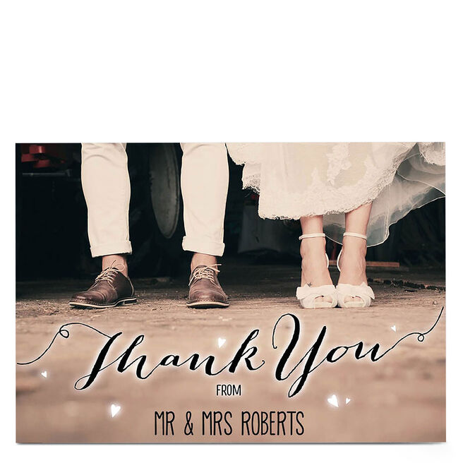 Personalised Thank You Card - Sepia Shoes