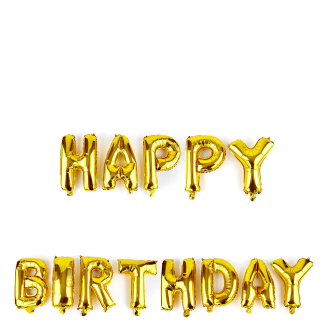 Happy Birthday Gold Balloon Banner Kit