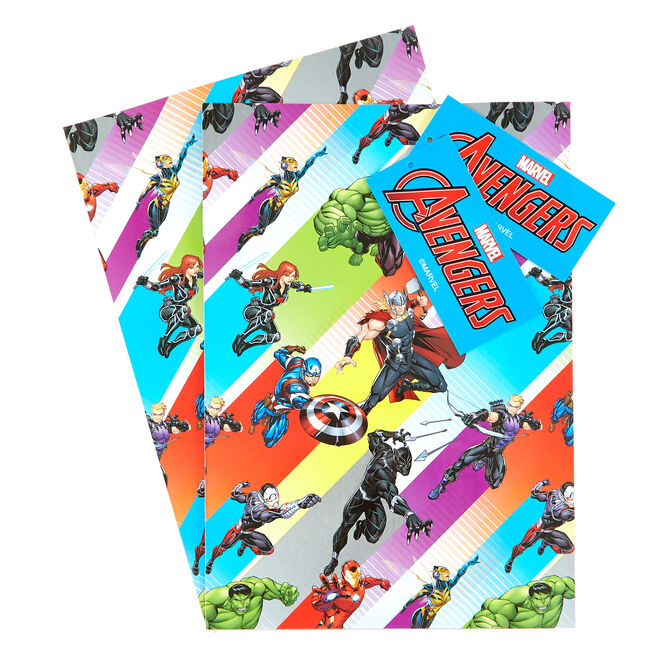 Marvel Avengers Wrapping Paper & Gift Tags - Pack Of 2