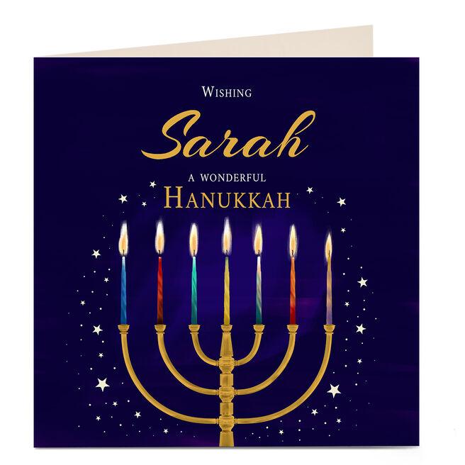 Personalised Hanukkah Card - Gold Menorah