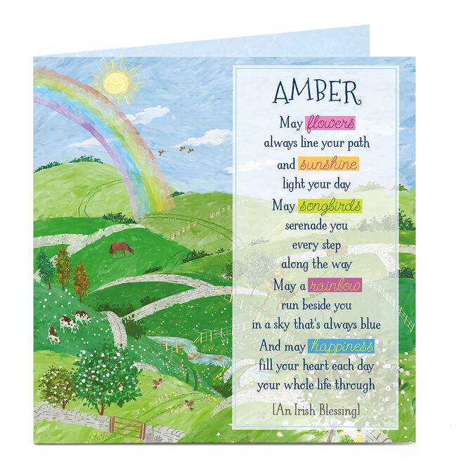 Personalised St Patrick's Day Card - Rainbow Blessing