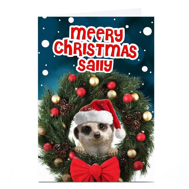 Personalised Christmas Card - Meerkat Wreath