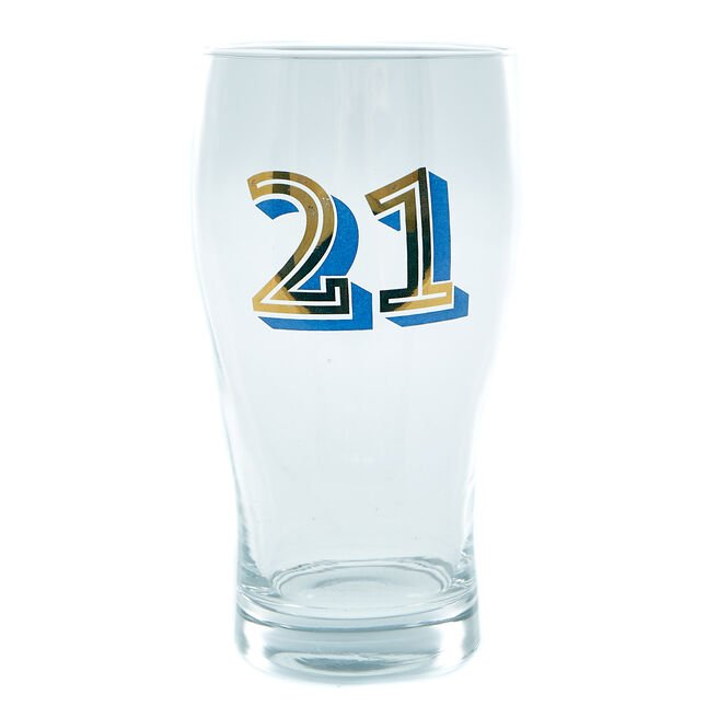 21st Birthday Pint Glass In A Box - Blue & Gold