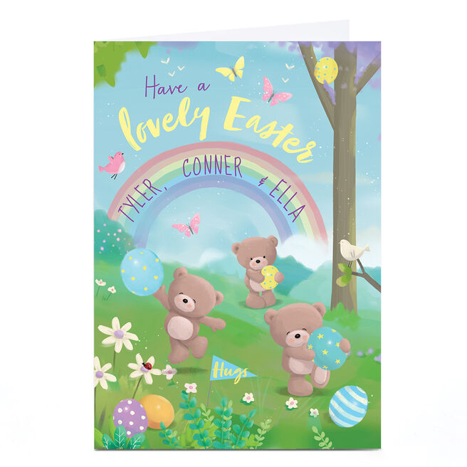 Personalised Hugs Bear Easter Card - Have A Lovely Day