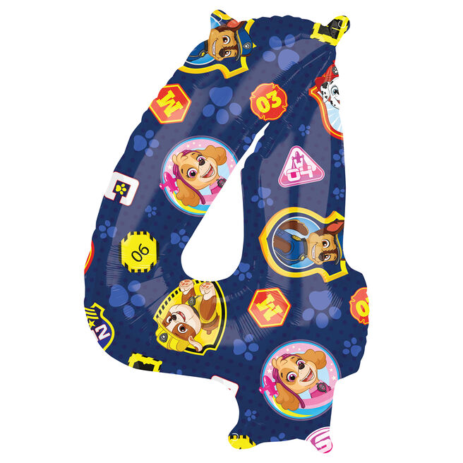 Paw Patrol Number 4 34-Inch Foil Helium Balloon