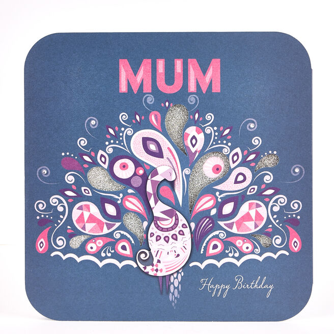 Exquisite Collection Birthday Card - Mum Peacock