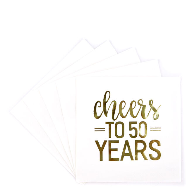 Cheers To 50 Years Paper Party Napkins - Pack Of 16