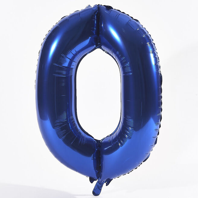Blue Number 0 Foil Giant Helium Balloon (Deflated)