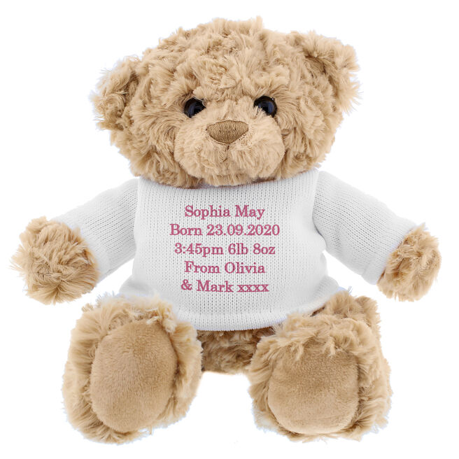 Teddy Bear With Personalised T-Shirt - Pink