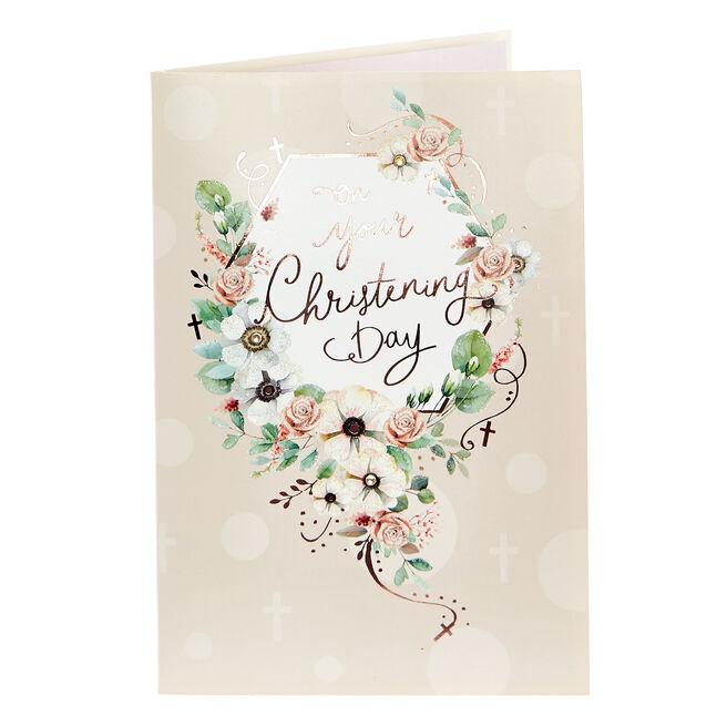 Christening Card - Modern Floral
