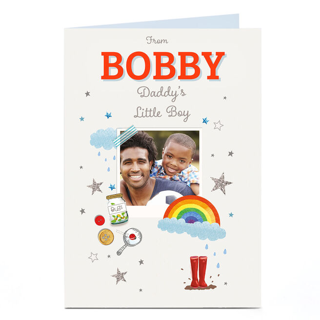 Photo Card - Daddy's Little Boy, Wellies and Rainbows