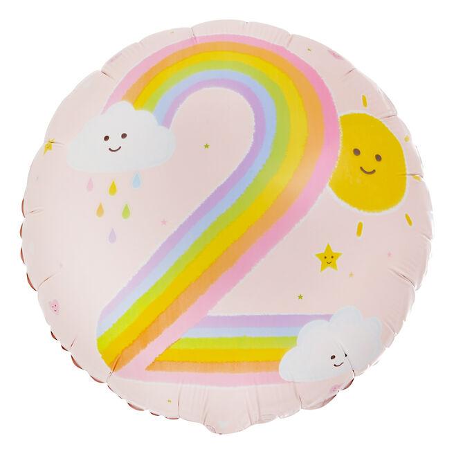 Rainbow 2nd Birthday 18-Inch Foil Helium Balloon
