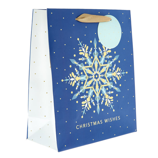 Small Portrait Blue & Gold Snowflakes Christmas Gift Bag