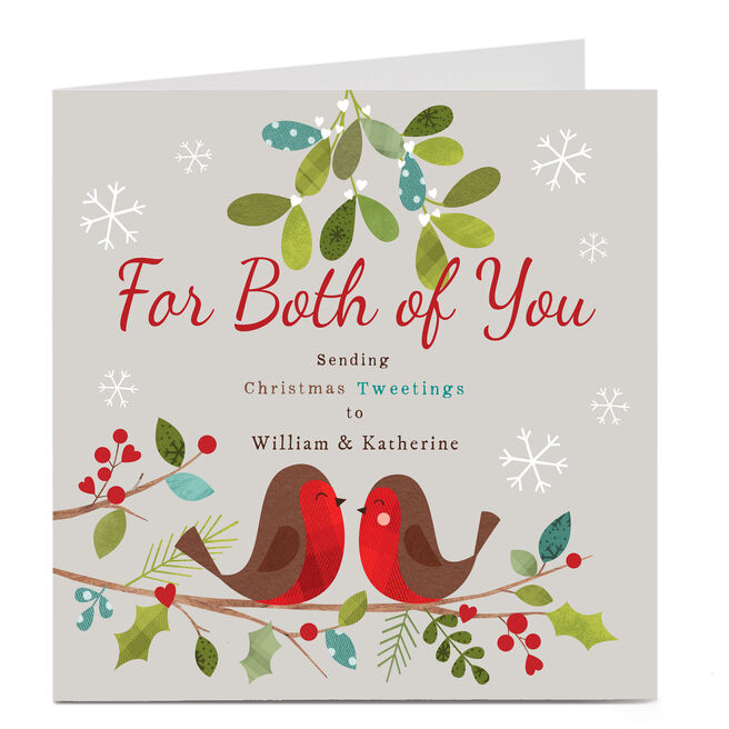 Personalised Christmas Card - Christmas Tweetings To Both Of You