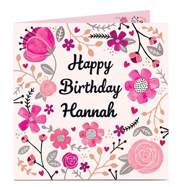 Personalised Birthday Card - Pretty Pink Flowers