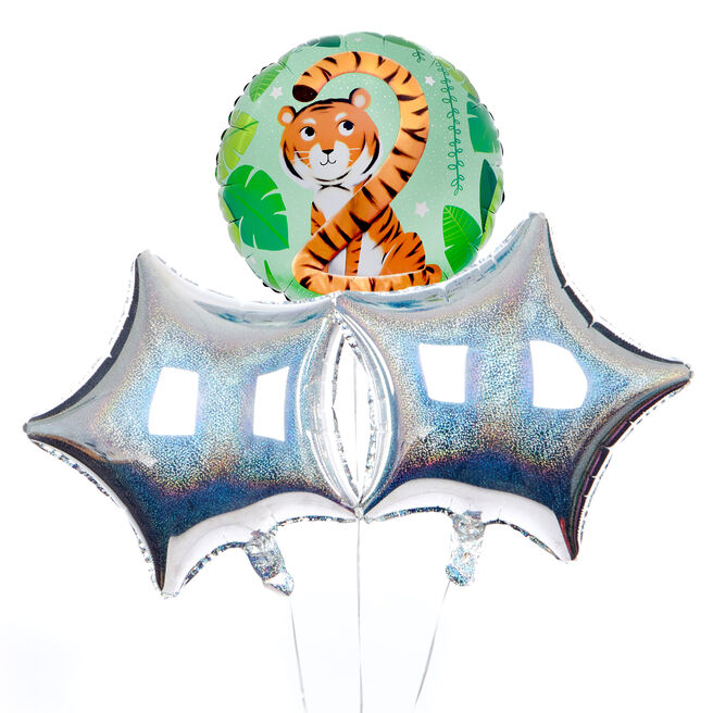 Tiger Themed 2nd Birthday Balloon Bouquet - DELIVERED INFLATED!