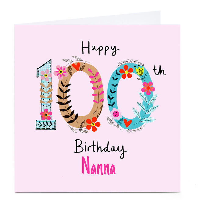 Personalised Lindsay Kirby 100th Birthday Card