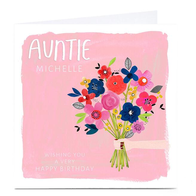 Personalised Kerry Spurling Birthday Card - Flowers, Auntie