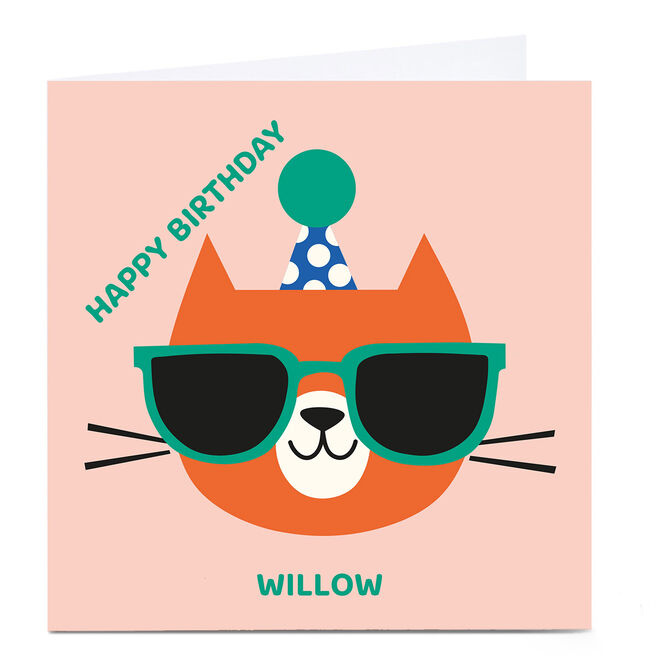 Personalised Cut Outs Birthday Card - Birthday Cat