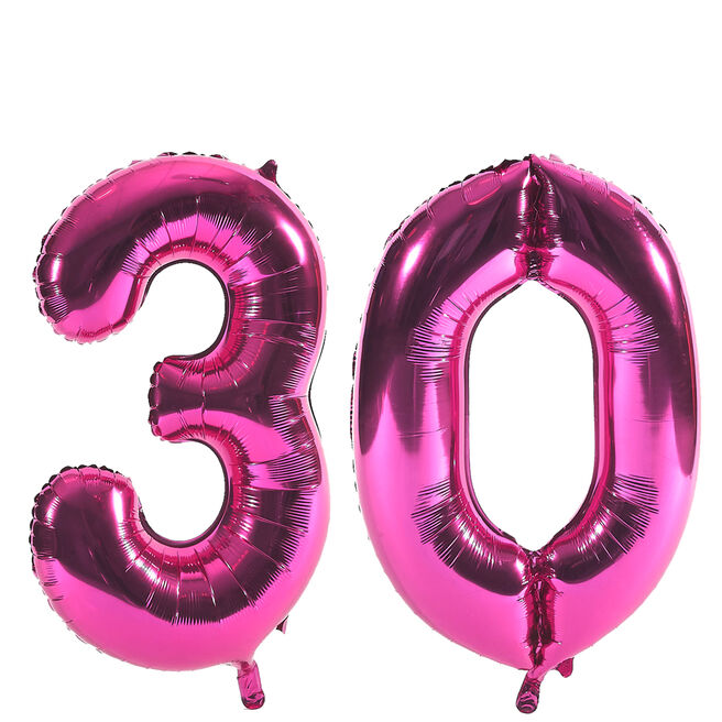 Age 30 Giant Foil helium Numeral Balloons - Pink (deflated)