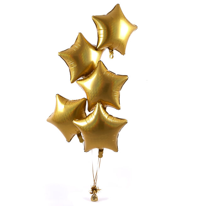 5 Gold Stars Stars Balloon Bouquet - DELIVERED INFLATED!