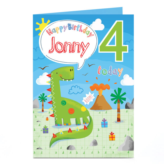 Personalised Any Age Birthday Card - Happy Dinosaur