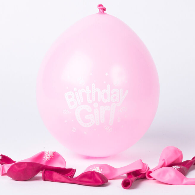 Pink Birthday Girl Small Air-fill Latex Balloons, Pack Of 10