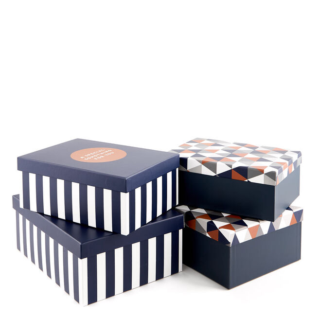 Luxury Gift Box Set Of Four - Blue Geometric