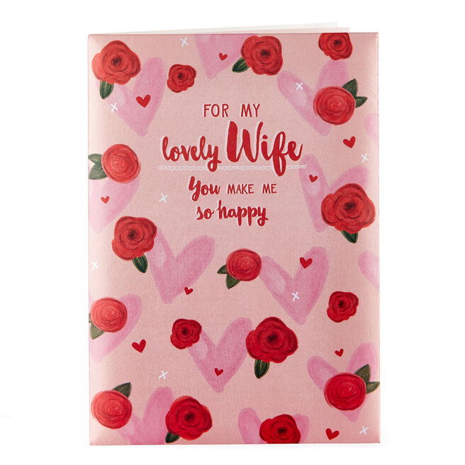Satin Collection Valentine's Day Card - Lovely Wife, Roses