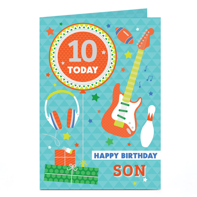 Personalised Any Age Birthday Card - Guitar & Balloon