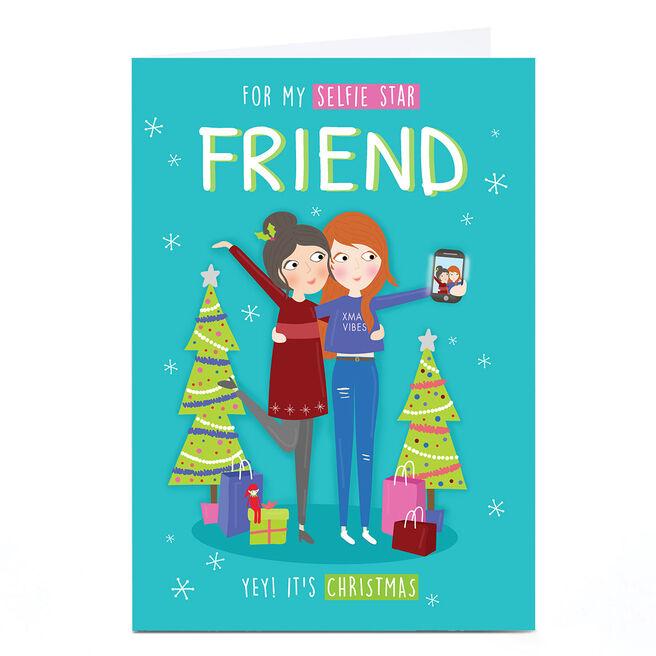 Personalised Christmas Card - Selfie Star Friend
