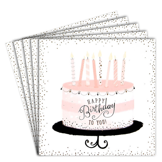 12 Birthday Cards - Pink Cake & Candles