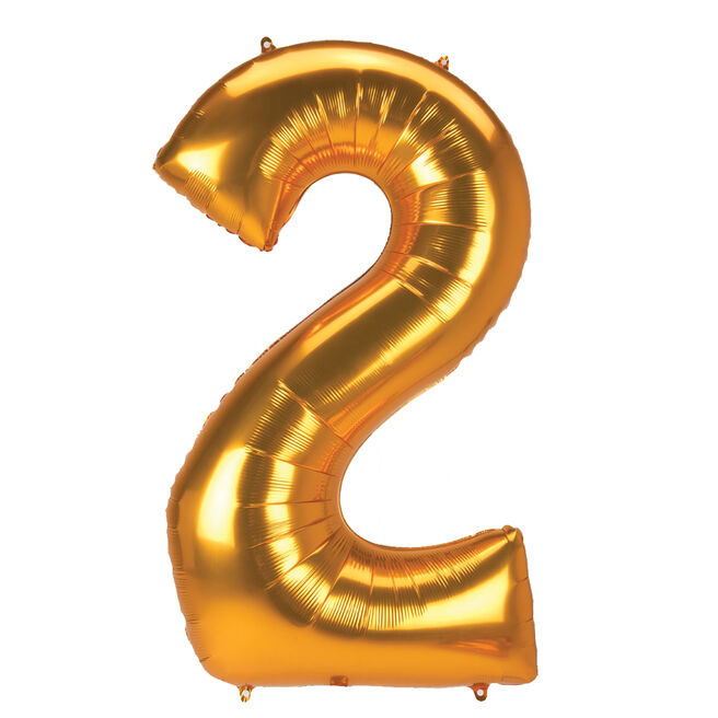 JUMBO 53-Inch Gold Foil Number 2 Balloon (Deflated)