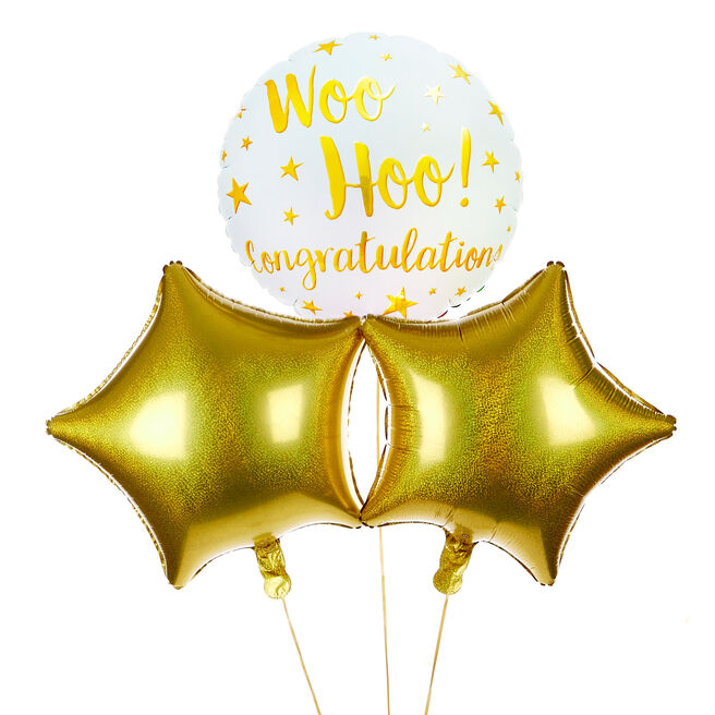 Woo Hoo! Congratulations Balloon Bouquet - DELIVERED INFLATED!