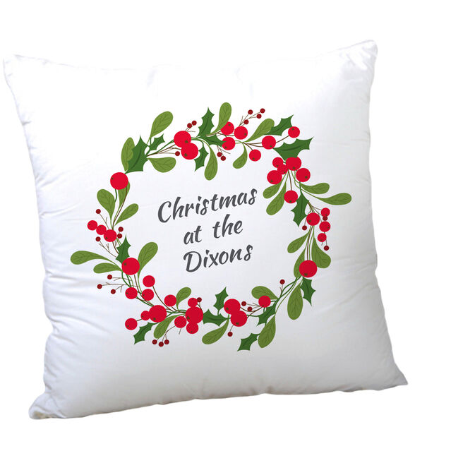 Personalised Christmas Wreath Cushion - Family Name